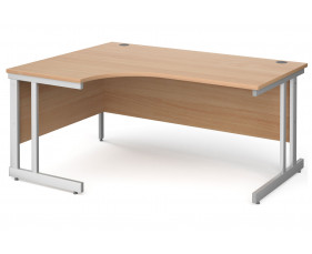 All Beech Double C-Leg Ergonomic Left Hand Desk