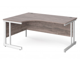 All Grey Oak Double C-Leg Ergonomic Left Hand Desk