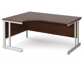 All Walnut Double C-Leg Ergonomic Left Hand Desk