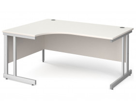 All White Double C-Leg Ergonomic Left Hand Desk