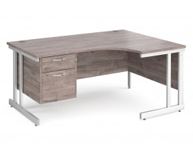 All Grey Oak Double C-Leg Right Hand Ergo Desk 2 Drawers