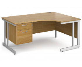 All Oak Double C-Leg Right Hand Ergo Desk 2 Drawers