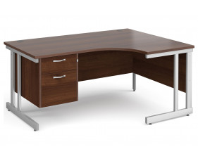 All Walnut Double C-Leg Right Hand Ergo Desk 2 Drawers