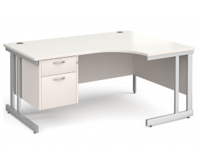 All White Double C-Leg Right Hand Ergo Desk 2 Drawers