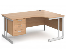 All Beech Double C-Leg Right Hand Ergo Desk 3 Drawers