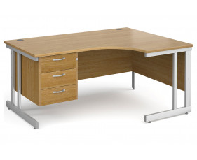 All Oak Double C-Leg Right Hand Ergo Desk 3 Drawers