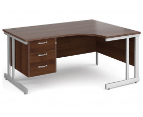 All Walnut Double C-Leg Right Hand Ergo Desk 3 Drawers