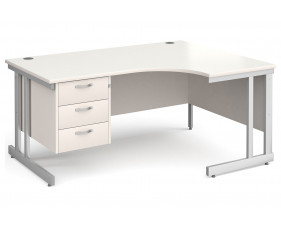 All White Double C-Leg Right Hand Ergo Desk 3 Drawers