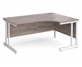 All Grey Oak Double C-Leg Ergonomic Right Hand Desk