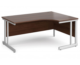 All Walnut Double C-Leg Ergonomic Right Hand Desk