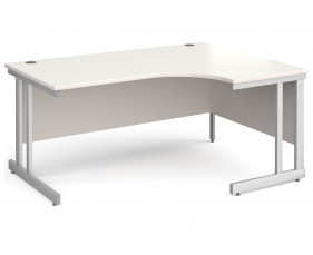 All White Double C-Leg Ergonomic Right Hand Desk
