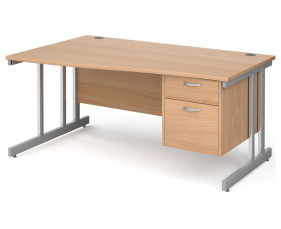 All Beech Double C-Leg Left Hand Wave Desk 2 Drawers