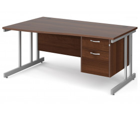 All Walnut Double C-Leg Left Hand Wave Desk 2 Drawers