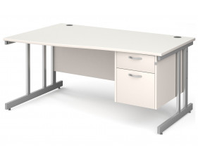 All White Double C-Leg Left Hand Wave Desk 2 Drawers