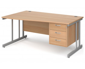 All Beech Double C-Leg Left Hand Wave Desk 3 Drawers