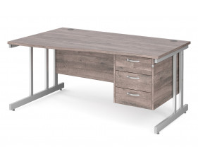 All Grey Oak Double C-Leg Left Hand Wave Desk 3 Drawers