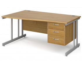 All Oak Double C-Leg Left Hand Wave Desk 3 Drawers