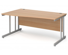 All Beech Double C-Leg Wave Left Hand Desk