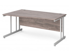 All Grey Oak Double C-Leg Wave Left Hand Desk