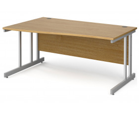 All Oak Double C-Leg Wave Left Hand Desk