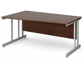 All Walnut Double C-Leg Wave Left Hand Desk