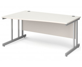 All White Double C-Leg Wave Left Hand Desk