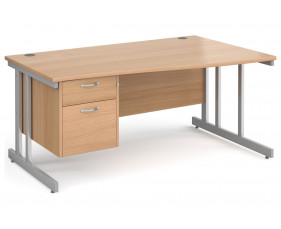 All Beech Double C-Leg Right Hand Wave Desk 2 Drawers