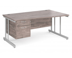 All Grey Oak Double C-Leg Right Hand Wave Desk 2 Drawers