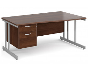 All Walnut Double C-Leg Right Hand Wave Desk 2 Drawers