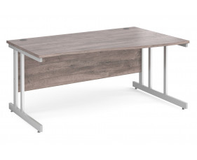All Grey Oak Double C-Leg Wave Right Hand Desk
