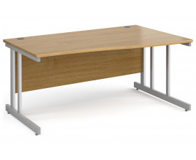All Oak Double C-Leg Wave Right Hand Desk