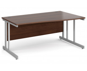All Walnut Double C-Leg Wave Right Hand Desk