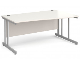 All White Double C-Leg Wave Right Hand Desk