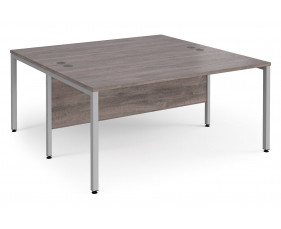All Grey Oak Bench Back 2 Back Desk