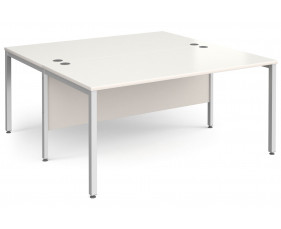 All White Bench Back 2 Back Desk