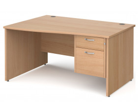 Next-Day Tully Panel End Left Hand Wave Desk 2 Drawers