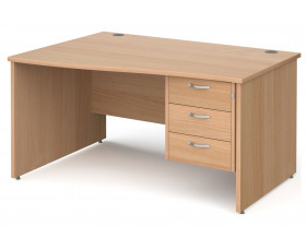 Next-Day Tully Panel End Left Hand Wave Desk 3 Drawers
