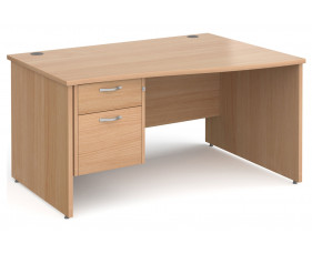 Next-Day Tully Panel End Right Hand Wave Desk 2 Drawers