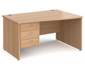 Next-Day Tully Panel End Right Hand Wave Desk 3 Drawers