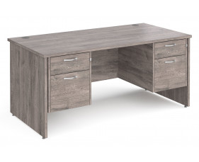 All Grey Oak Panel End Executive Desk 2+2 Drawers
