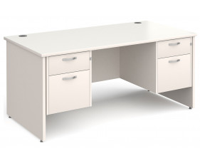 All White Panel End Executive Desk 2+2 Drawers