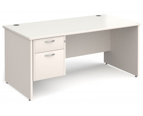 All White Panel End Clerical Desk 2 Drawers