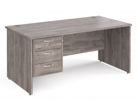 All Grey Oak Panel End Clerical Desk 3 Drawers