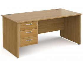 All Oak Panel End Clerical Desk 3 Drawers