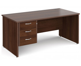 All Walnut Panel End Clerical Desk 3 Drawers