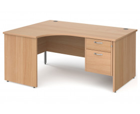 All Beech Panel End Left Hand Ergo Desk 2 Drawers