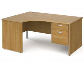 All Oak Panel End Left Hand Ergo Desk 2 Drawers