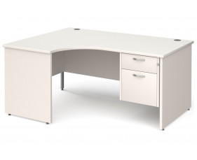 All White Panel End Left Hand Ergo Desk 2 Drawers
