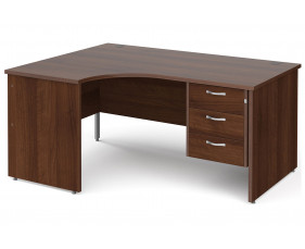 All Walnut Panel End Left Hand Ergo Desk 3 Drawers