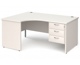 All White Panel End Left Hand Ergo Desk 3 Drawers